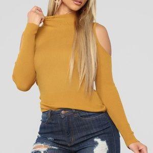 ✨SOLD✨ Carolina Cold Shoulder Sweater Mustard